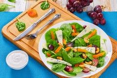 Winogrono, błękitny ser, szpinak, wysuszone morele sałatkowe Obraz Stock