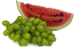 Winogrono i kawałek arbuz Zdjęcie Royalty Free