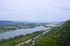 Winona en Meer van boven op Bluffs Royalty-vrije Stock Foto's