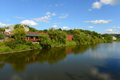 Winooski River, Montpelier, VT, USA. Winooski River cross the center of Montpelier in summer, Montpelier, Vermont, USA. Montpelier is the capital of Vermont and Royalty Free Stock Photography