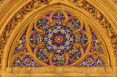Winow-pane from gothic church in Paris. St. Germain Auxerrois - detail Stock Photography