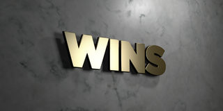 Wins - Gold sign mounted on glossy marble wall  - 3D rendered royalty free stock illustration Royalty Free Stock Image