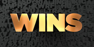 Wins - Gold text on black background - 3D rendered royalty free stock picture Royalty Free Stock Photo