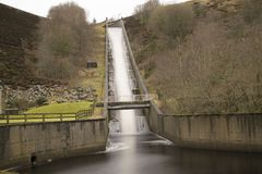 Winscar Reservoir Spillway Overflow At Dunford Bridge Start Of T Royalty Free Stock Images