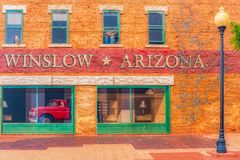 Winslow Аризона орла пар тележки искусства окна стоковые фотографии rf