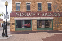 Winslow Arizona. WINSLOW, AZ/USA - April 17: Standin' On The Corner Park, pays homage to Take It Easy a song written by Jackson Browne and popularized by the Stock Photo