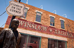 Winslow Arizona. WINSLOW, AZ/USA - June 13: Standin' On The Corner Park, pays homage to Take It Easy, a song written by Jackson Browne and popularized by the Royalty Free Stock Photos