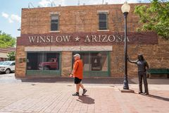 Winslow, Arizona. Winslow, Arizona: June 22, 2017: Winslow, Arizona gained prominence from the Eagle`s song, `Take it Easy,` which includes lyrics about Royalty Free Stock Photography