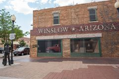 Winslow, Arizona. Winslow, Arizona: June 22, 2017: Winslow, Arizona gained prominence from the Eagle`s song, `Take it Easy,` which includes lyrics about Stock Photo