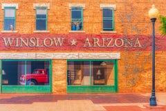Winslow o Arizona da águia dos pares do caminhão da arte da janela fotos de stock royalty free