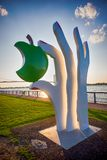 WINSOR, ONTARIO - SEPT 2, 2017: Detail of Eve`s Apple by sculpto. R Edwina Sandys in Windsor Sculpture Park, an open space  that shows large-scale contemporary Royalty Free Stock Photos