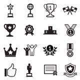 Winst en succes geplaatste pictogrammen Stock Afbeeldingen
