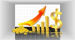 Winst met de Gouden rode pijl van Muntstukken en met dollar Stock Foto