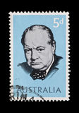 Winston Churchill. Australia - circa 1965: Commemorative mail stamp featuring former British Prime Minister Sir Winston Churchill Stock Image