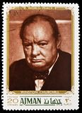Winston Churchill, Combatants for peace serie, circa 1970. MOSCOW, RUSSIA - MAY 25, 2019: Postage stamp printed in Ajman shows Winston Churchill, Combatants for stock photos