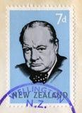 Winston Churchill Postage Stamp New Zealand imagem de stock