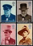 Winston Churchill Stamps. British Used Postage Stamps showing Sir Winston Churchill, circa 1974 Stock Photography
