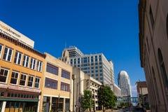 Winston-Salem Downtown from Liberty Street. A view of downtown Winston-Salem, North Carolina, USA from Liberty Street Stock Photos