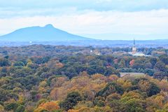 Winston-Salem in Fall Colors. WINSTON-SALEM, NC, USA - NOVEMBER 1, 2018: Winston-Salem, Wait Chapel and Pilot Mountain and on November 1, 2018 in Winston-Salem stock photos