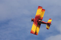 Winston-Salem, NC - Circa September 2013 Gene Soucy flying his G. A biplane performs above Winston-Salem NC in the annual Winston-Salem Airshow Stock Image