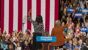 WINSTON-SALEM, NC - OCTOBER 27 , 2016: Democratic presidential candidate Hillary Clinton and US First Lady Michelle Obama appear a. T a presidential campaign royalty free stock image