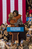WINSTON-SALEM, NC - OCTOBER 27 , 2016: Democratic presidential candidate Hillary Clinton and US First Lady Michelle Obama appear a. T a presidential campaign stock images