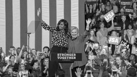 WINSTON-SALEM, NC - OCTOBER 27 , 2016: Democratic presidential candidate Hillary Clinton and US First Lady Michelle Obama appear a. T a presidential campaign royalty free stock images