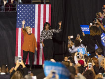 WINSTON-SALEM, NC - OCTOBER 27 , 2016: Democratic presidential candidate Hillary Clinton and US First Lady Michelle Obama appear a Royalty Free Stock Images