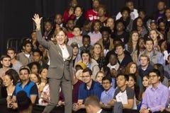 WINSTON-SALEM, NC - OCTOBER 27 , 2016: Democratic US Senator Janet Kay Hagan, North Carolina introduces Hillary Clinton and Michel. Le Obama at a presidential stock photo