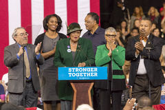 WINSTON-SALEM, NC - OCTOBER 27 , 2016: North Carolina Congress member introduces Hillary Clinton Campaign rally featuring US First. Lady Michelle Obama stock image