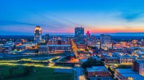 Winston-Salem North Carolina, USA i stadens centrum horisont royaltyfri fotografi