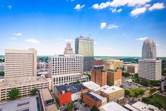 Winston-Salem, North Carolina, USA Skyline. From above royalty free stock images