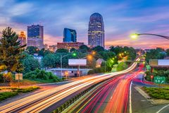 Winston-Salem, North Carolina, USA. Skyline at dusk stock image