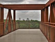 Winston-Salem Skyline from Quarry Park Observation Deck. Once an old granite quarry, the mostly wooded 200 acres was acquired by the city and in 2017 opened as royalty free stock image