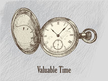 Wintage clock drawing Stock Image