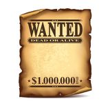 Vintage wanted poster isolated on white vector Royalty Free Stock Photo