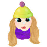 Winte cartoon girl with snowlake on her nose.  Royalty Free Stock Image