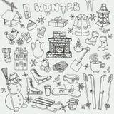 Winteer doodle icons,elements.Black set Stock Photos