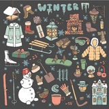 Winteer doodle icons,elements.Colored kit Royalty Free Stock Photos