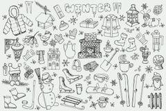 Winteer season.Doodle elements set.Linear Royalty Free Stock Photos