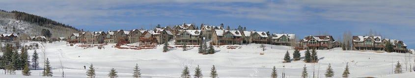 Winter, übersehen große Häuser schneebedecktes Feld lizenzfreie stockfotos