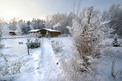 Winter. Landscape with a path and house Royalty Free Stock Photography