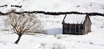 Winter. Wooden cottage in the mountains Royalty Free Stock Images