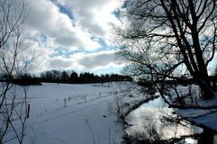 Winter. A winter landscape at evening Stock Photos