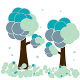 Winter. Stylised vector illustration of winter trees with round snowflakes vector illustration