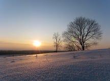 Winter. Sunset on a hillside Royalty Free Stock Photo