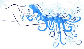 Winter. Vector the girl winter with beautiful hair Stock Images