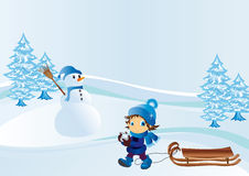Winter. Vector illustration shows a child on a walk winter royalty free illustration