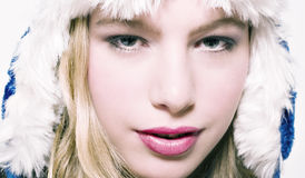 Winter. Close up of beautifull models face royalty free stock images