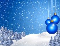 Winter. Background , blue Christmas balls Stock Photos